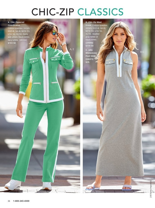 left model wearing the chic zippered coordinates in green with white lining and white sneakers. right model wearing the chic zip maxi dress in gray with white lining and jelly pool sandals.