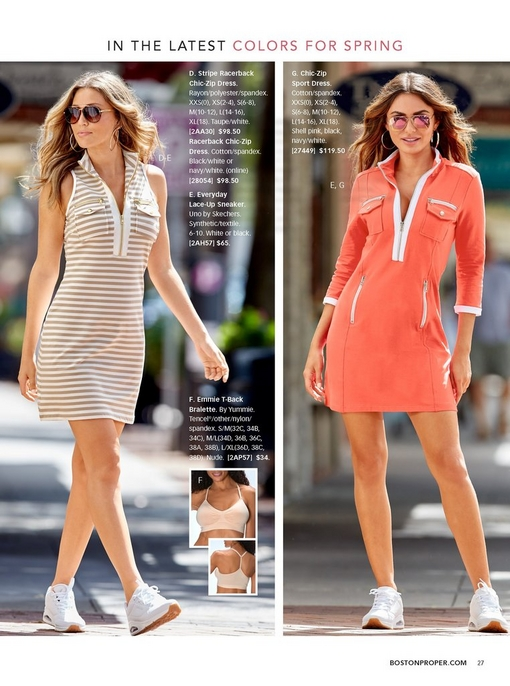 left model wearing a tan and white striped racerback chic-zip dress with white sneakers and aviator sunglasses. right model wearing the chic zip sport dress in pink and white with white sneakers and mirrored aviator sunglasses.