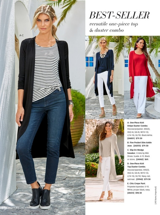 left model wearing the one-piece knit stripe duster combo in black and white with jeans and black slip-on wedge sneakers. right models show the duster in red, navy, and tan with white pants.