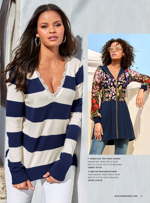 left model wearing a navy and white striped lace trim sweater with white pants. right model wearing a high-low floral embroidered jacket in navy with cat-eye glasses and jeans.