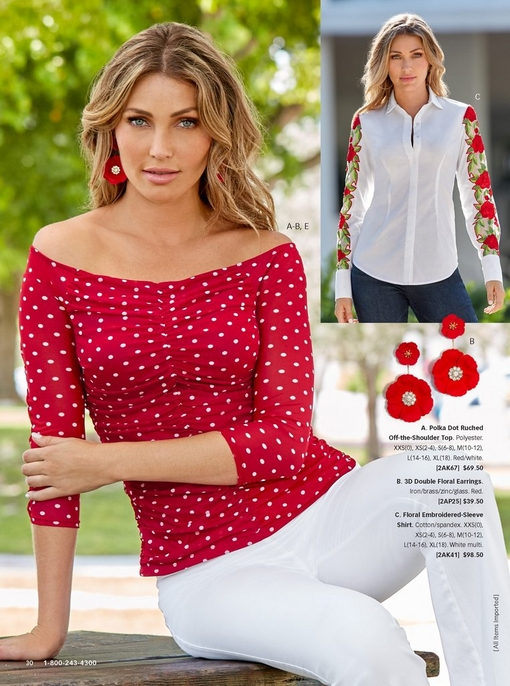 left model wearing a red and white polka dot ruched off-the-shoulder top with red floral earrings and white twill pants. left model wearing a floral embroidered-sleeve button up shirt in white and jeans.