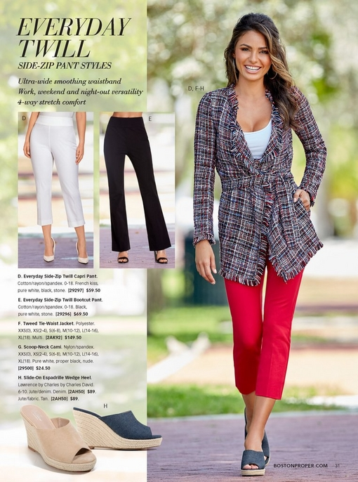 model wearing a tweed tie-waist jacket over a white tank top, red twill capri pants, and denim espadrille wedges. silo of the espadrille wedges in denim and tan.