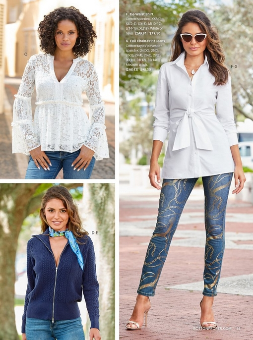 top left model wearing a pearl embellished long sleeve lace top in white with jeans. bottom left model wearing a cable detail zip up cardigan sweater in navy with a printed neck scarf in blue and jeans. right model wearing a white tie-waist shirt, cat-eye sunglasses, foil chain-print jeans, and gold heels.