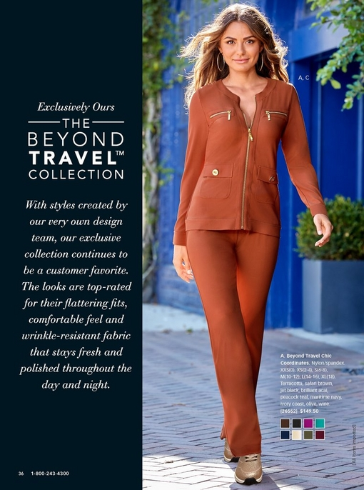 model wearing the beyond travel chic coordinates in terracotta with cold sneakers. to the left there is a copy block about the beyond travel collection.