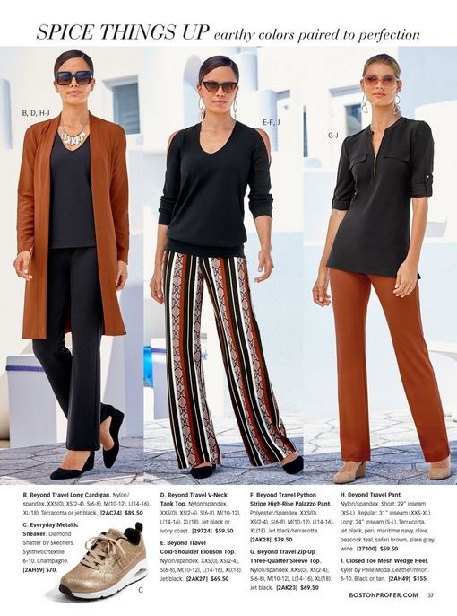 left model wearing a cardigan in terracotta over a black tank top and black travel pants with black travel shoes, square sunglasses, and a metal necklace. middle model wearing a cold-shoulder black top with python stripe high-rise palazzo pants, cat-eye sunglasses, and black travel shoes. right model wearing navy short sleeve quarter zip top with terracotta travel pants, tan travel shoes, and glitzy sunglasses.