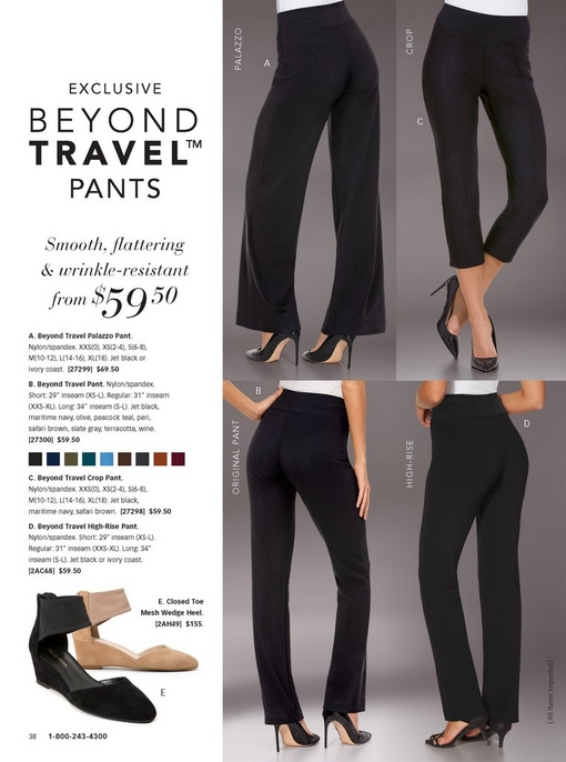 four beyond travel pants are being shown in black: the palazzo pant, high-rise pant, crop pant, and the original travel pant. silo of new travel shoes in black and tan.
