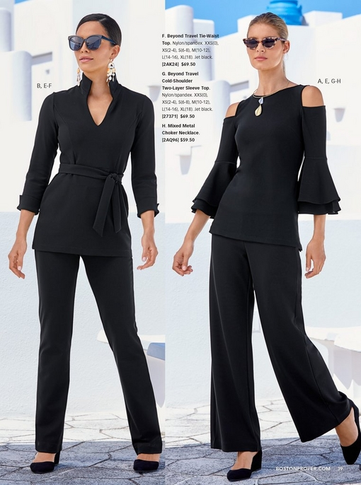 left model wearing a tie-waist top in black with black high rise travel pants, square sunglasses, and pastel earrings with black shoes. right model wearing a cold-shoulder two-layer sleeve top, mixed metal choker necklace, black travel palazzo pants, cat-eye sunglasses, and black shoes.