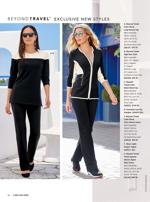 left model wearing the beyond travel color block long-sleeve top in black and white, black beyond travel high-rise pant, and black flats.