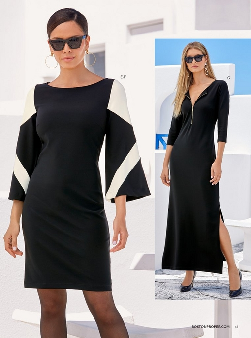 left model wearing the beyond travel color block flare-sleeve dress in black and white, square sunglasses, and sheer black shaper tights. right model wearing the beyond travel three-quarter sleeve zipper maxi dress in black, square sunglasses, and black pumps.