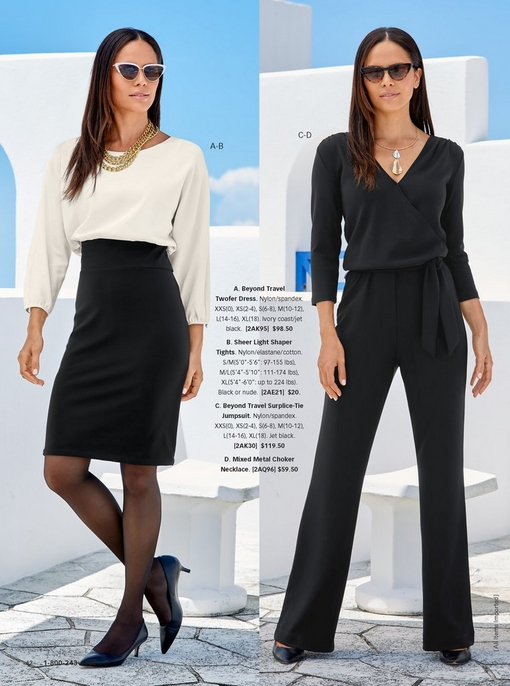 left model wearing the beyond travel twofer dress in black and white, sheer black shaper tights, a gold chain necklace, and black kitten heels. right model wearing the beyond travel surplice-tie jumpsuit in black with a metal choker and cat-eye sunglasses.