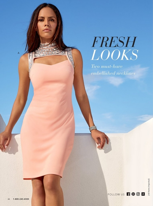 model leaning on a ledge wearing a blush cutout embellished mock-neck sheath dress.