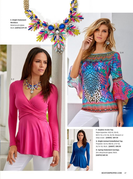 left model wearing a pink surplice a-line top, white pants, and a bright statement necklace. right model wearing a bright animal print top, white pants, and statement pastel earrings. two silos: the a-line top in navy and the bright statement necklace.