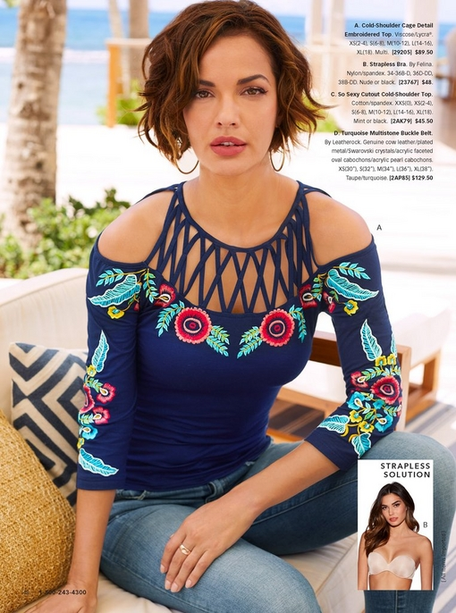 model wearing a cold-shoulder cage detail floral embroidered top in navy with jeans. there is a silo that features a strapless bra.
