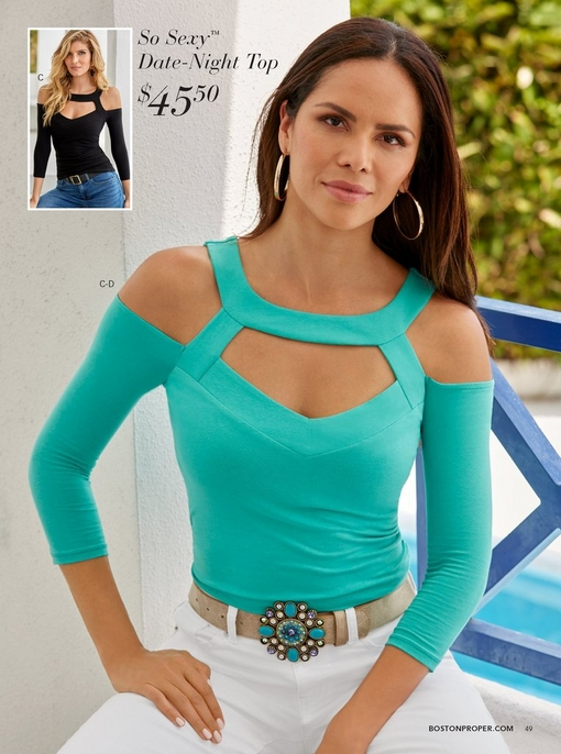 model wearing the so sexy cutout cold-shoulder top in mint with a turquoise jewel belt and white pants. to the left there is a silo of the same top in black.