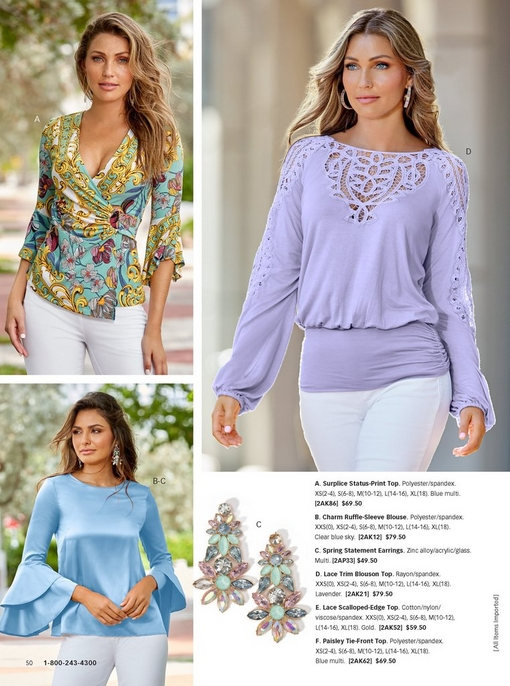 top left model wearing a surplice status-print top with white pants. bottom left model wearing a bell-sleeve powder blue top with white pants. right model wearing a lace trim blouson top in lavender with white pants and pastel hoop earrings. there is a silo that features the statement spring earrings.