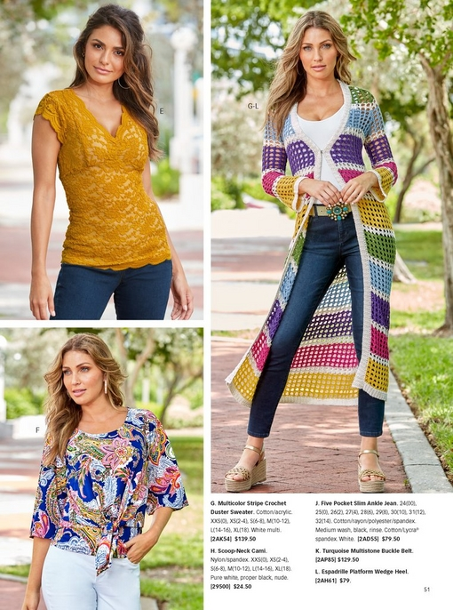 top left model wearing mustard yellow lace top with jeans. bottom left model wearing a tie front paisley top with white pants. right model wearing a multicolor stripe crochet duster sweater over a white tank top and jeans with a turquoise jewel belt and espadrille platform wedges.