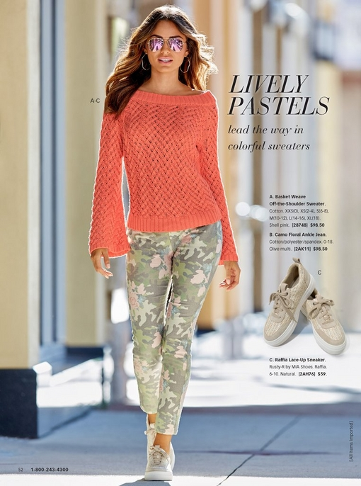 model wearing a pastel orange basket weave off-the-shoulder sweater with camo floral jeans, raffia lace-up sneakers, and mirrored aviator sunglasses. there is a silo to the right of the raffia lace-up sneaker.