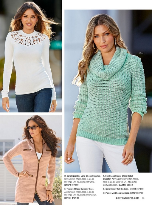 top left model wearing white scroll design sweater and jeans. bottom left model wearing blush colored sweater coat, right model wearing a teal cowl neck sweater and white pants.