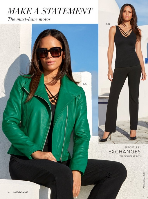 left model wearing a green leather collared moto jacket over a strappy tank top in black with black travel pants and square sunglasses. right model wearing the strappy tank top in black and black travel pants with black pumps.