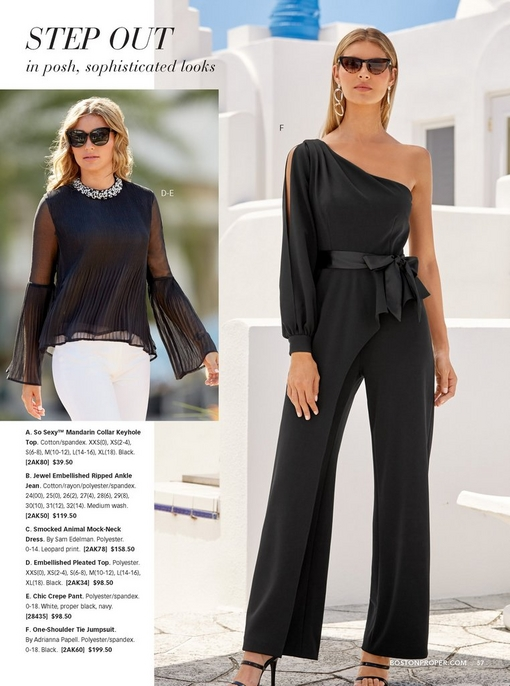 left model wearing a black embellished pleated top with white pants and square sunglasses. right model wearing a black one-shoulder tie jumpsuit with cat-eye sunglasses and black strappy heels.