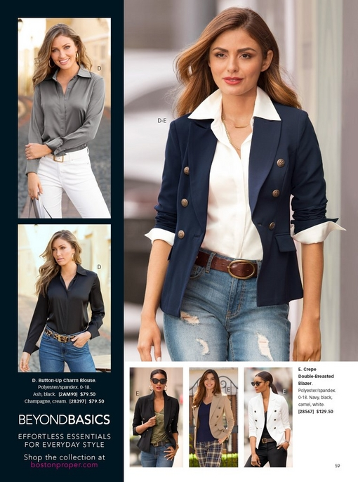 left side shows the button-up charm blouse in black and gray. right model wearing the crepe double-breasted blazer in navy over a white button up shirt, brown belt, and distressed jeans. two silos on the bottom show the crepe jacket in black and white.