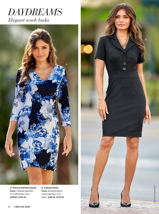 left model wearing multiple shades of blue floral dress with three-quarter sleeves. right model wearing a collared fitted black dress with short sleeves and black pumps.
