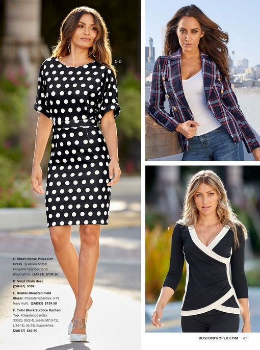 left model wearing a black and white short sleeved polka dot dress. top right model wearing a blue plaid blazer over a white tank top and jeans. bottom right model wearing a black and white wrap top.