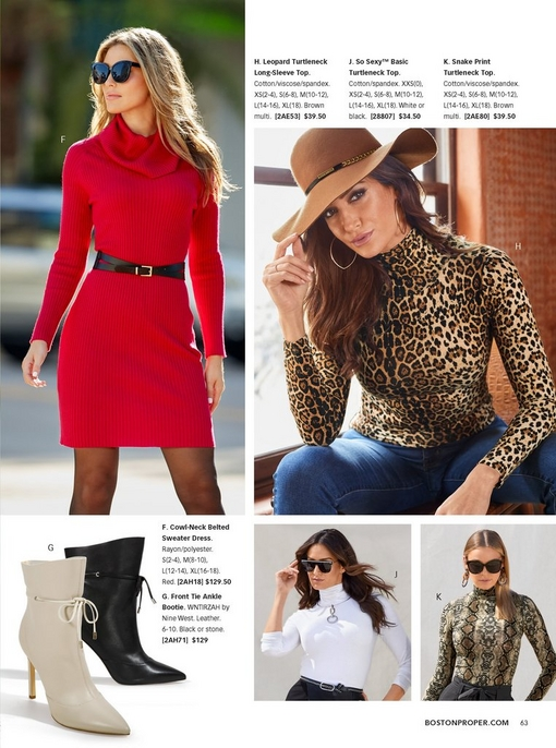 left model wearing red sweater dress with a black belt, square sunglasses, and sheer black tights. right model wearing leopard print turtleneck, a floppy tan hat, and blue jeans. silos include: tie front heeled boots in black and white, a white turtleneck, and a snake print turtleneck.