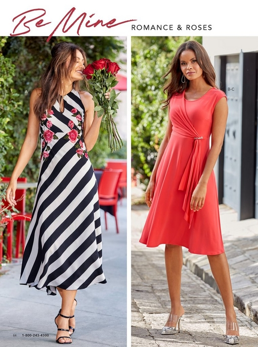 left model wearing black and white diagonally striped dress with pops of pink flowers. right model wearing orange-red dress with a tie front and small jewel embellishments.