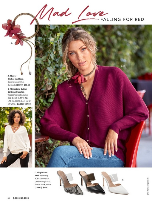 model wearing beet red cardigan sweater with jeweled buttons, blue jeans, and a floral choker necklace. silos include: cardigan sweater in white, floral choker necklace, and vinyl shoes in black, white, and snake print.