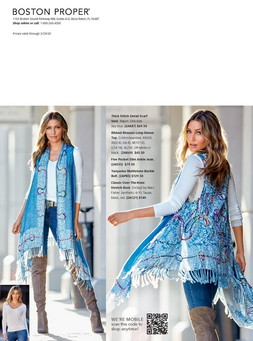 model wearing blue paisley vest over a white blouson top and blue jeans paired with over the knee boots and a turquoise jewel belt.