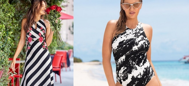 left model wearing black and white striped dress with pops of pink flowers. right model wearing a black and white sequin one-piece swimsuit and cat-eye sunglasses.