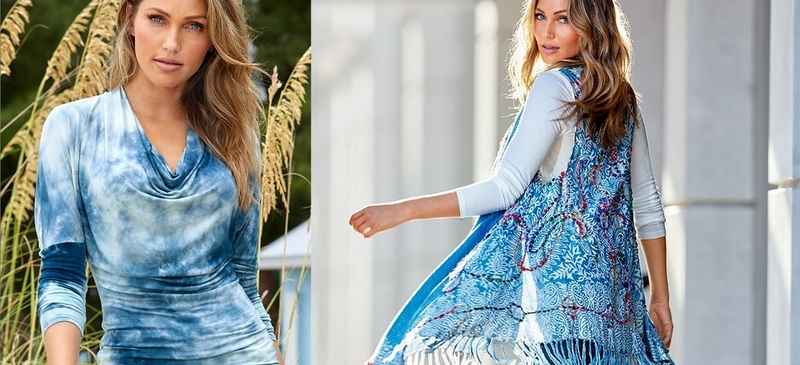 left model wearing blue and white tie-dye slouchy sweater. right model wearing paisley blue fringe vest and long sleeve white top.
