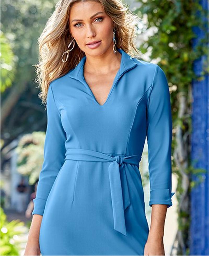 model wearing peri blue tie-waist travel dress