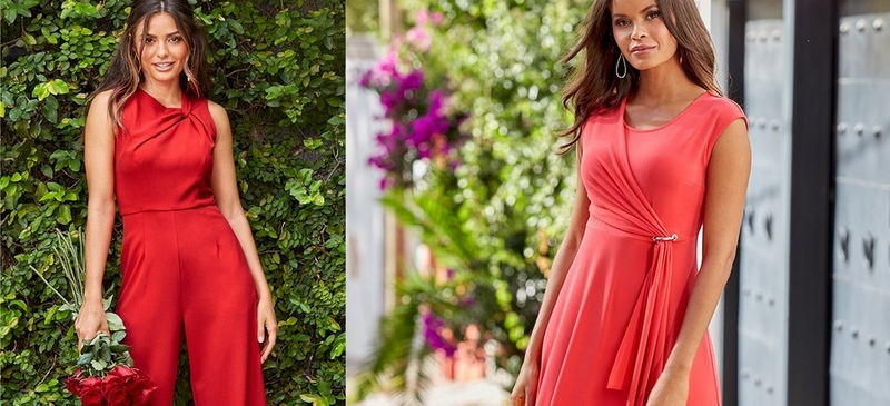 left model wearing red ruched jumpsuit. right model wearing red dress with silver embellishments.