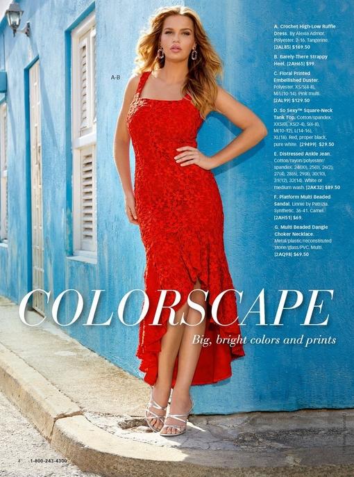 model wearing a red crochet high-low ruffle dress, rhinestone earrings, and strappy silver heels.