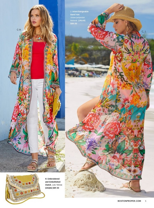 left model wearing a floral printed embellished duster, a red tank top, white jeans, platform sandals, and a beaded choker necklace while holding an embroidered and embellished clutch in yellow. right model wearing the same floral duster and a straw hat.