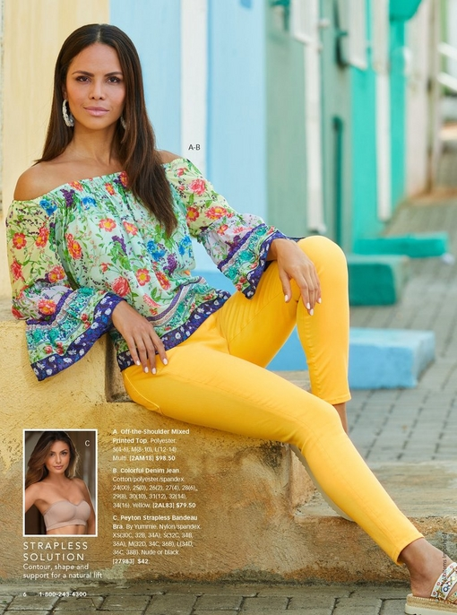 model lounging on stairs wearing yellow jeans, an off-the-shoulder floral top, and platform embellished sandals.