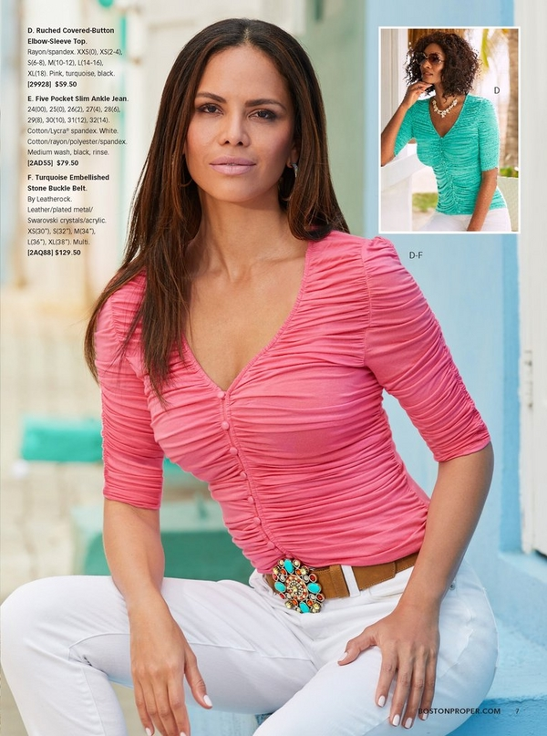 model wearing a pink ruched covered-button top, white jeans, and turquoise embellished stone belt.the same top is also shown in turquoise.