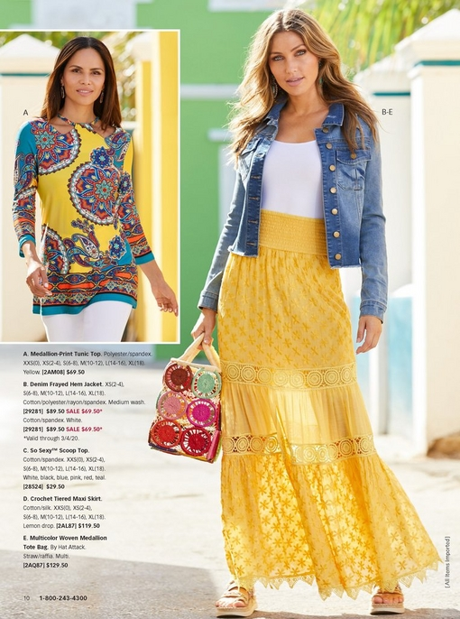 left model wearing a medallion print tunic top in yellow and white jeans. right model wearing a denim jacket, white tank top, and yellow crochet tiered maxi skirt with a multicolored woven medallion tote bag and platform embellished sandals.
