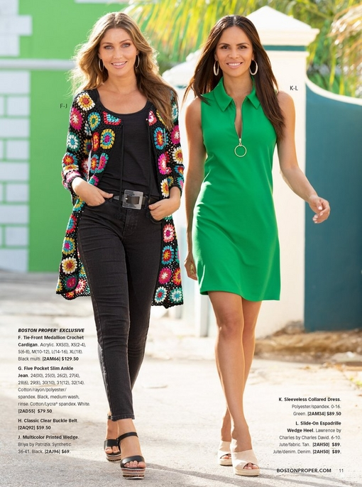 left model wearing a floral embroidered crochet cardigan, black tank top, black jeans, and multicolor wedges. right model wearing a sleeveless collared dress in green and tan wedges.