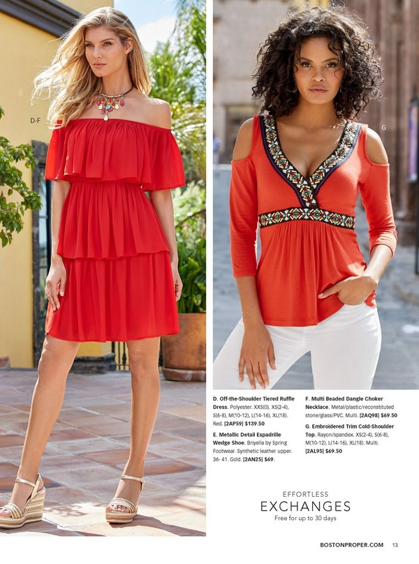 left model wearing a red, off the shoulder tiered ruffle dress, metallic wedges, and metal choker necklace.right model wearing an embroidered trim cold-shoulder top in red with white jeans.