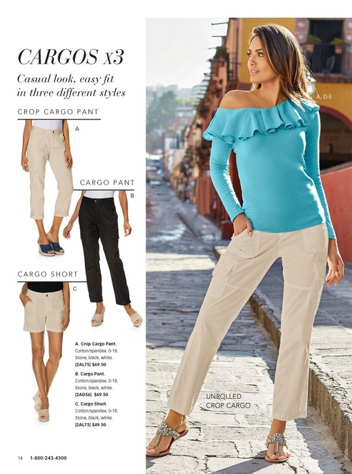 left panel showing the three types of cargos: the crop pant, the full-length pant, and the short. right panel showing a model wearing a blue asymmetrical ruffle top with white cargo pants and embellished sandals.