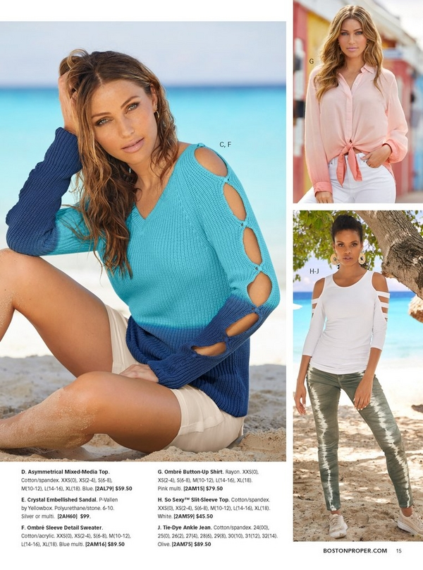 left model wearing a blue ombre sleeve detail sweater and white shorts. top right model wearing a pink ombre button-up shirt that ties in the front and white jeans. bottom right model wearing a slit-sleeve top in white, olive tie-dye ankle jeans and raffia sneakers.