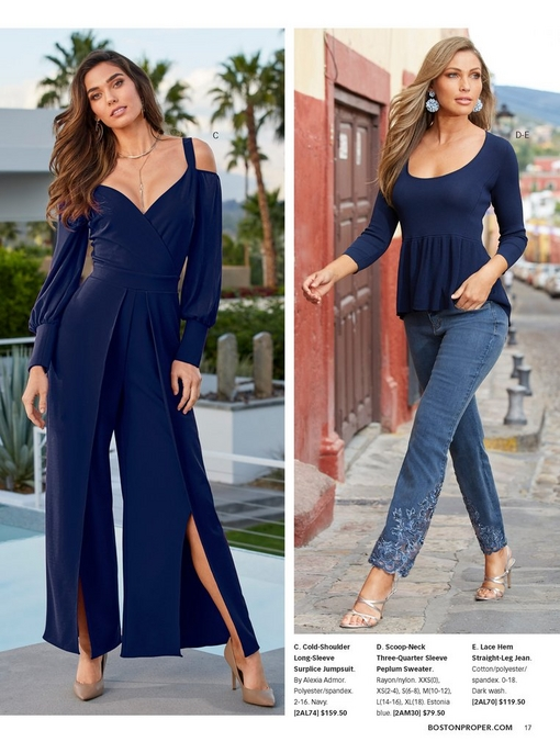 left model wearing a navy blue, cold-shoulder, long-sleeve surplice jumpsuit. right model wearing a navy peplum sweater and lace hem straight-leg jean with blue floral earrings and silver strappy heels.