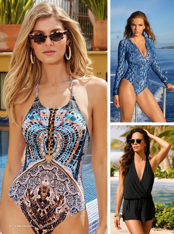 left model wearing an anim-print one-piece swimsuit with leopard cat eye sunglasses and hoop earrings. top right model wearing a black swim romper. bottom right model wearing a blue snake-print long-sleeve one-piece swimsuit.