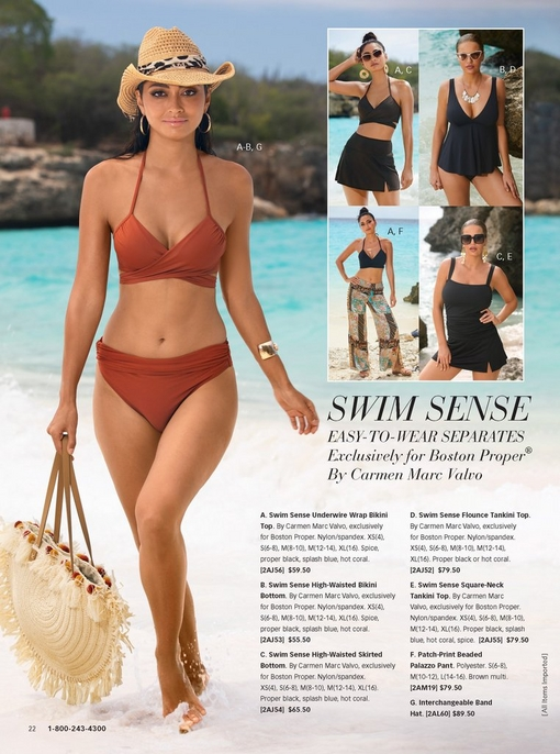 left model wearing a copper bikini, a straw hat, and a straw bag. the right silos feature the bikini skirt, the tankini top, the cover up pant, and the bikini top.