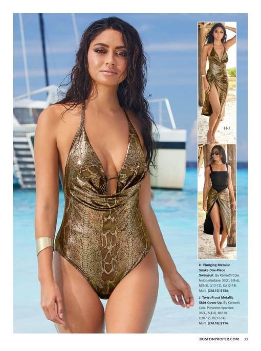 left model wearing a plunging metallic snake one-piece swimsuit. the right silos feature the same swimsuit with the matching twist-front cover-up and a black tankini with the same skirt.