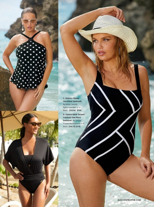 top left model wearing a polka-dot high-neck tankini in black and white and cat eye sunglasses. bottom left model wearing a black kimono sleeve one-piece swimsuit and cat eye sunglasses. right model wearing a square neck striped black and white one-piece swimsuit and a straw hat.