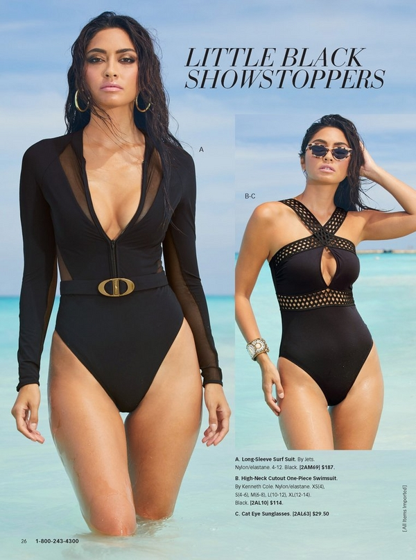 left model wearing a song-sleeve surf suit with a belted waist. right model wearing a high-neck cutout one-piece swimsuit in black.